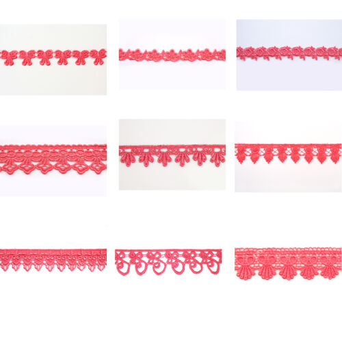 "5//8/"",3//4/"",1/"",1.25/"",1.75/"",2/"" 3/"",3.25/"" Embroidered Coral Venice Lace Trim 2.5/"""