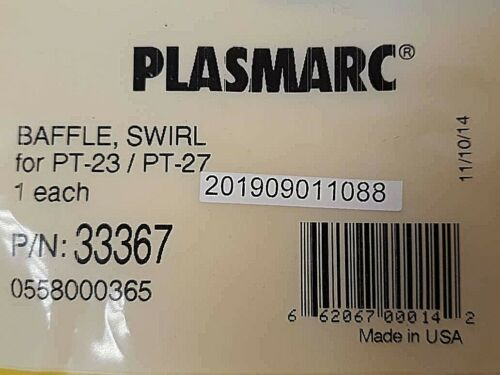 Esab PLASMARC BAFFLE SWIRL for PT-23//PT-27 P//N 33367 0558000365