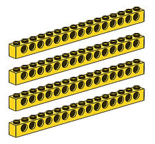LEGO Technic 4 pcs XL CLASSIC YELLOW BRICK BEAM 1x16 WITH HOLES Part Piece 3703