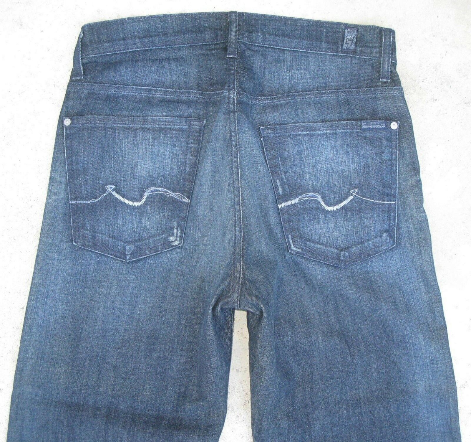 7 For all Mankind Mens Relaxed Jeans Sz 32 X 27 w Stretch Dark Distressed