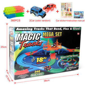 360PCS-Magic-Tracks-Race-Track-With-LED-Race-Cars-Glow-In-The-Dark-Tracks-2-cars