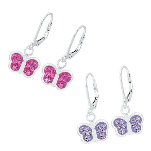 O/&S Ohrringe 925 Sterling Silber Kinder Mädchen Ohrhänger Kristall Schmetterling