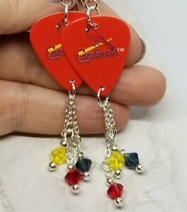 335453efa Image is loading St-Louis-Cardinals-Guitar-Pick-Earrings-with-Swarovski-