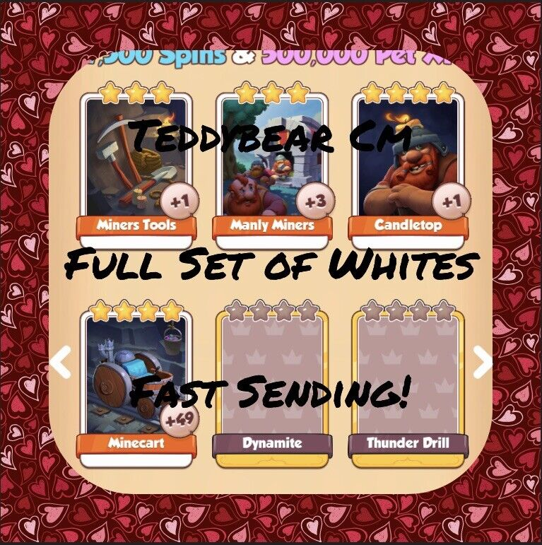 Coin Master Miners Full Set (White Cards) Minecart, Candletop Etc..(Fast Send)