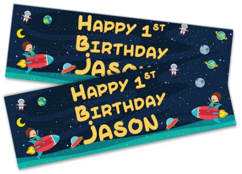 x2 Personalised Birthday Banner Space Children Kids Party Decoration Poster 8
