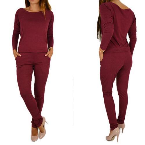 Femme Off Shoulder Playsuit moulante à manches longues Combinaison Ange Pantalon Z