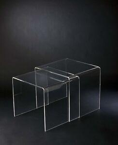Plexycam Bis tavolini comodini salotto in Plexiglass 45x33x40h + ...