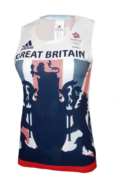 7572b7b3728d WOMENS Size 10 Adidas TEAM GB Response Singlet Running Vest T Shirt  Sleeveless
