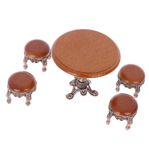 1:12 Dollhouse Miniature Furniture Wooden Round Kitchen Side Table and  stool  D