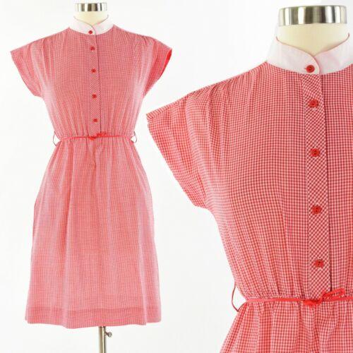 70's Vintage Womens S Red & White Gingham Plaid Sh
