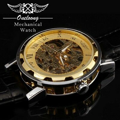 Golden Mechanical Watch For Men with Skeleton Dial Black Leather Strap
