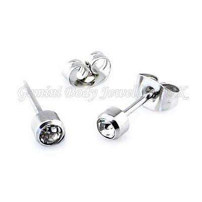 Crystal gem Surgical steel stud earrings Sold in Pairs Standard Ear Piercing