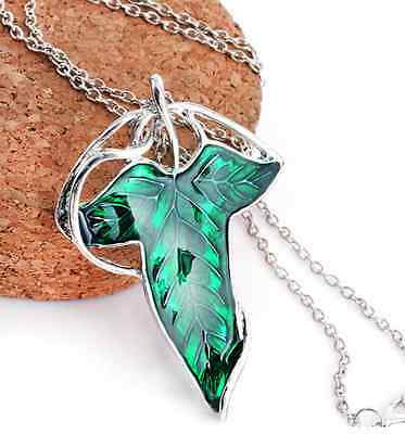 Vintage Lord of The Rings Green Leaf Elven Pin Brooch Pendant Chain Necklace