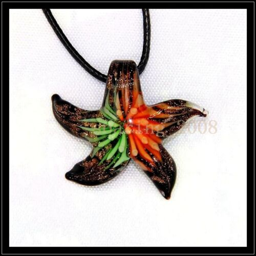 12 Pcs Lovely starfish Crystal Murano art glass beaded leather pendant necklace