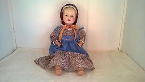 Vtg.Vanta Baby Amberg Doll-Compo./Cloth-26in.-Shoulder Plate Head-tin eyes #16