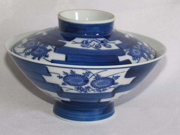 05d48 Antiguo Arroz Cuenco Porcelana Negro Blanco Azul China Firma Para