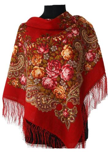 Lovely Authentische Russische Pavlovo Posad Schal 100/% Wolle Seide Fransen