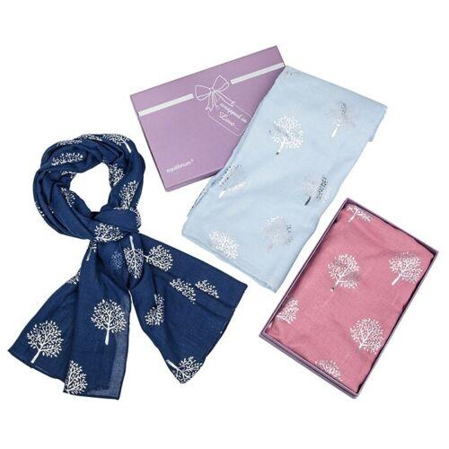 Equilibrium Ladies Metallic Silver Trees Scarf Shawl Wrap Gift Box Pink Blue