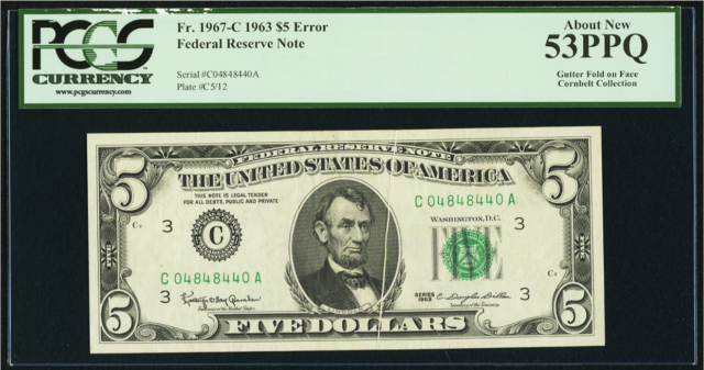 Fr# 1967-C 1963 $5 ERROR Federal Reserve Note s/n C04848440A near Repeater reduc