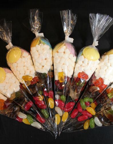10 Conos De Fiesta Goody Bolsas Dulces con cinta de Cumpleaños Niños Candy Lleno De Pre