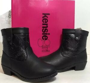 ce9b0f1ff NEW KENSIE Lil GIRL Child Cowboy Boots Size 12 Black Faux Leather ...