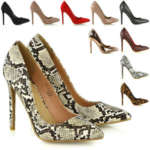 Womens-High-Heel-Stiletto-Pointed-Essex-Glam-Ladies-Party-Clubbing-Court-Shoes