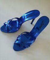 Fuss High Heel Sandaletten Mules blau metallic GR 42 - ungetragen