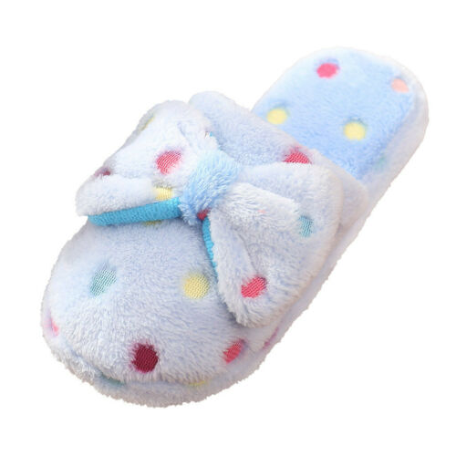Ladies Womens Soft Warm Winter Furry Bow Polka Dot Slip On Slippers Mules Size