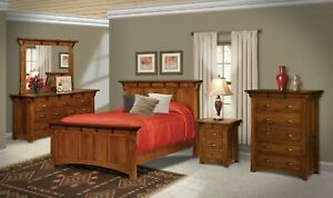 Details about Amish 5-Pc Bedroom Set Arts & Crafts Mission Solid Wood  Tenons Queen King