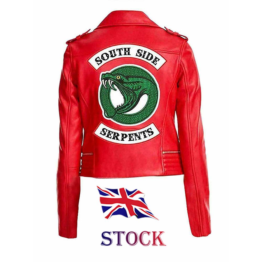 South Side Serpent Women Wear Style Cheryl Blossom Biker Red Faux Leather Jacket
