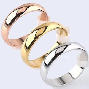 4mm-Round-18K-Yellow-White-Rose-Gold-Plated-Ring-Men-Women-039-s-Wedding-Band-Sz6-12
