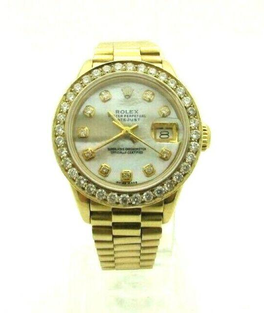 Rolex DateJust President 26 mm MOP 6917 18k Yellow Gold Watch DIAMONDS  Ladies