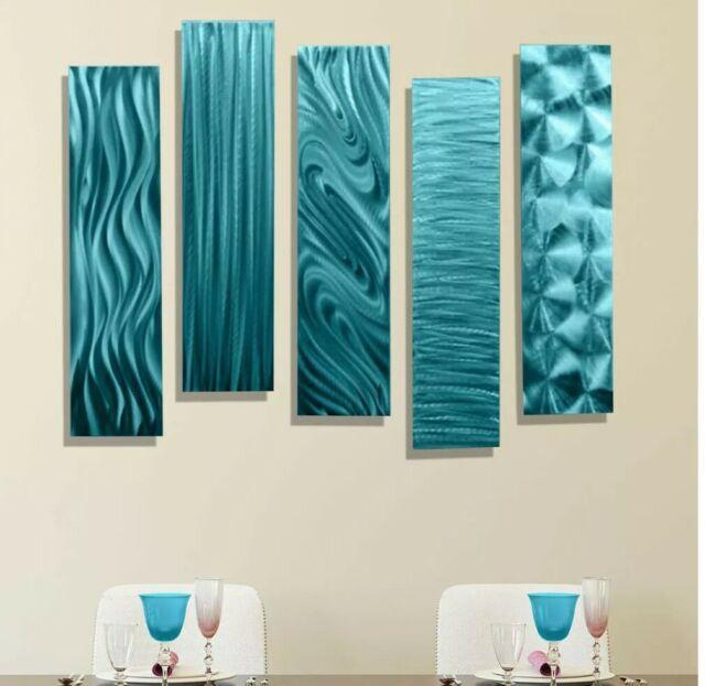 Metal Wall Art Panels Aqua Blue