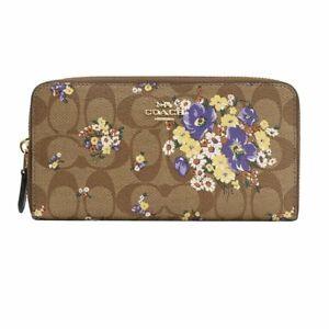 870a7d2b Details about Coach Signature PVC Accordion Zip Around Wallet in Khaki  Floral