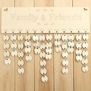 Wooden Family Birthday Reminder Plaque Sign Board Calendar Tag