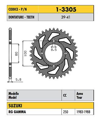 1-3305 - Corona Passo 520 Per Suzuki Rg Gamma 250 1983 1984 1985 1986 1987 1988