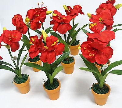 9 Stück Amaryllis Pflanze 23 cm mit Topf künstliche Blumen Kunstblumen Deko Rot