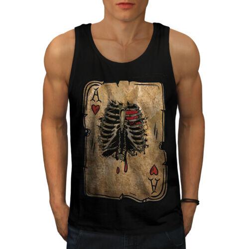 Wellcoda Poker Cards Skelet Mens Tank Top Ribcage Active Sports Shirt
