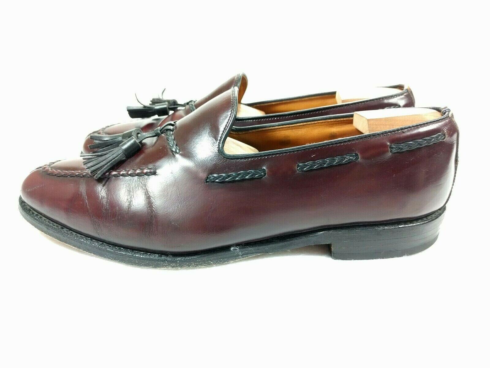 ALLEN EDMONDS Men's Pembrooke Burgundy Leather Tassel Loafers shoes Size 9.5 B