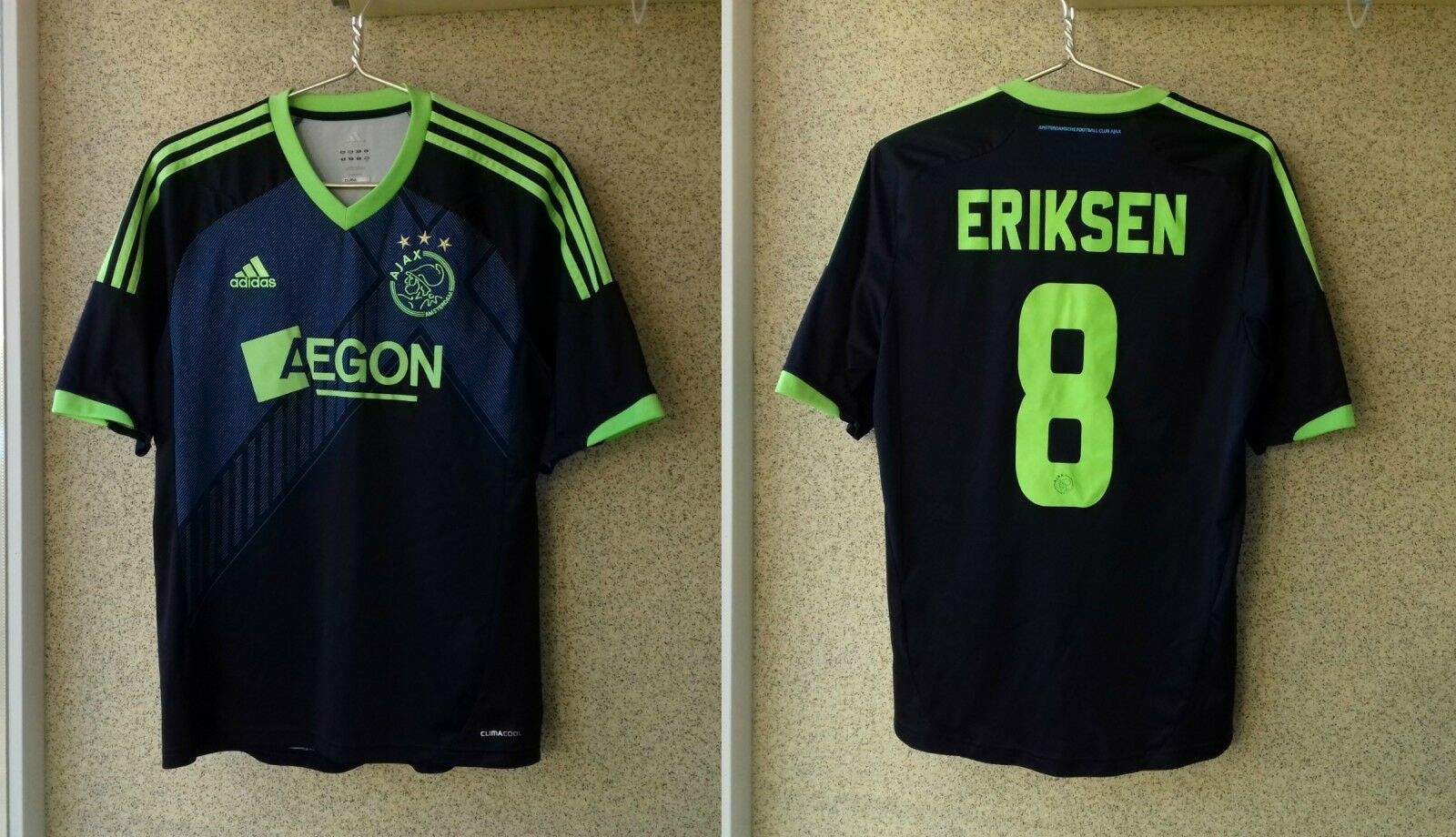 Ajax Away football shirt 20122013 Jersey M Adidas Soccer   8 Christian Eriksen