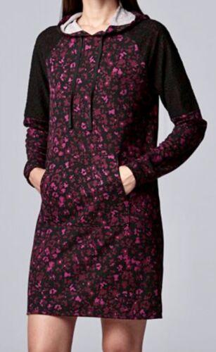 New SIMPLY VERA WANG Berry Floral hooded Nightgown Sleep Shirt  LoungeWear XL