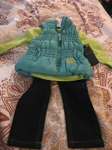 New Rocawear Toddler 3 Piece Outfit Size 2T-4T Long Shirt Jeans Pants Vest Boys