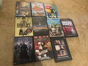 Lot of 10 ASSORTED DVDS Shrek 2 Matrix Bader Santa Brides Maids Elf Borat