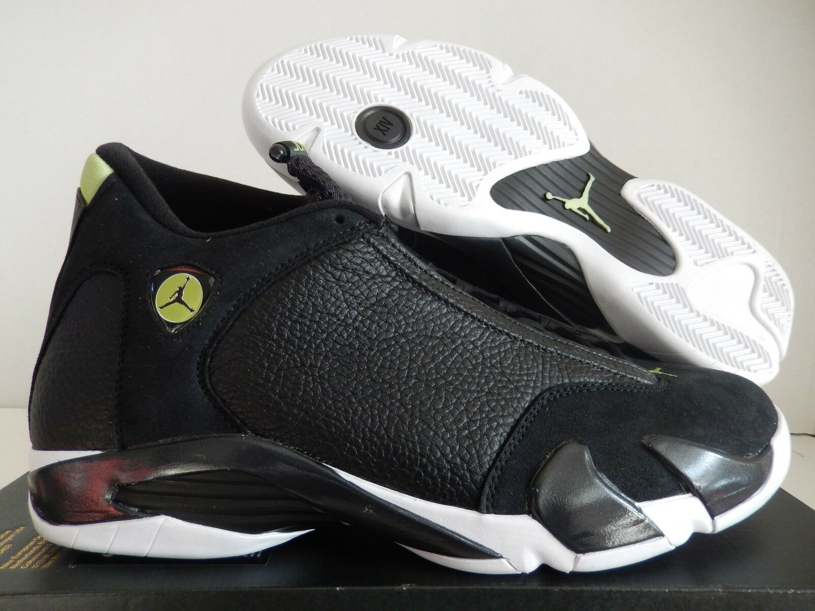 NIKE AIR JORDAN 14 RETRO BLACK-BLACK-WHITE-VIVID GREEN Price reduction Wild casual shoes