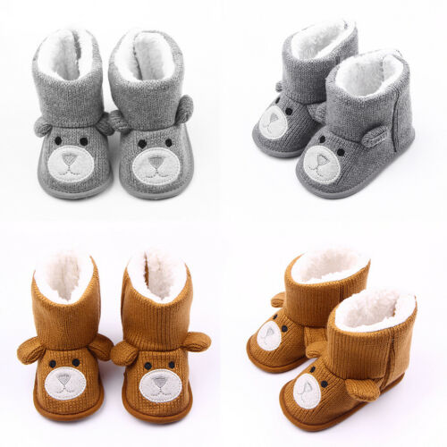 Baby Kids Girls Knitted Boots Booties Fleece Warm Winter Snow Crib Shoes 0-18M