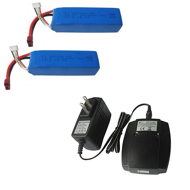2PCS 14.8V 2800mAh 30C Battery & US Adapter for Feilun FT010 FT011 RC