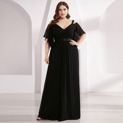 Ever-Pretty UK Black Cold Shoulder V-Neck Long Evening Prom Dress Cocktail Gowns