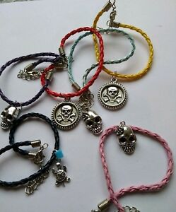 Goth-Rock-Punk-Skull-Tibetan-Charm-Bracelet-Anklet-Choice-of-Colours