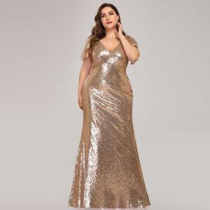 Details about Ever-Pretty Plus Size Fishtail Bodycon Gown Long Sequin  Evening Dress Gold 07988