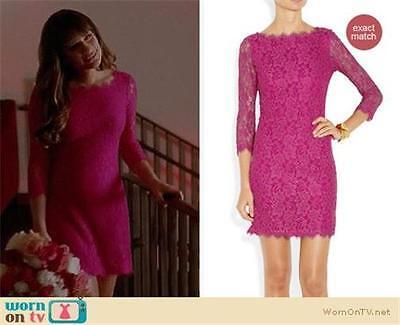 DVF Diane Von Furstenberg ZARITA Lace Scoop Back Zip Dress Soft Iris Pink $348